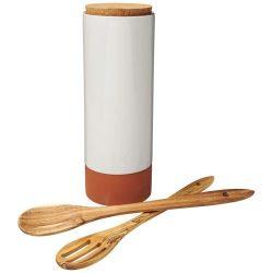 Set suport pasta cu linguri, Jamie Oliver by AleXer, CAE01, pluta, lemn, portocaliu