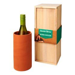 Frapiera pentru o sticla de vin, Jamie Oliver by AleXer, JU037, lemn, portocaliu, breloc inclus