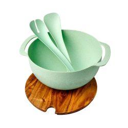 Platou de servire cu bol si accesorii pentru salata, Everestus, LA03, lemn, polipropilena, verde menta