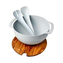 Platou de servire cu bol si accesorii pentru salata, Everestus, LA02, lemn, polipropilena, gri, saculet de calatorie inclus