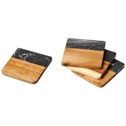 Set 4 suport pahare din marmura si lemn de salcam, Everestus, 9IA19396, Maro