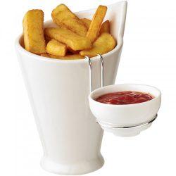 Set servire cartofi prajiti cu extensie pentru sos, Everestus, 20FEB1481, Ceramica, Otel, Alb