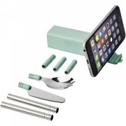 Set tacamuri de voiaj cu suport de telefon, Everestus, 20FEB1417, Polipropilena, Otel, Fier, Silicon, Verde