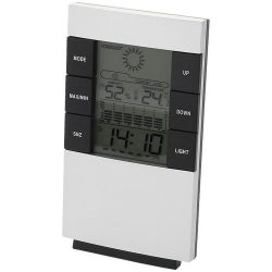 Como desk weather station with alarm clock, Plastic, Silver