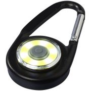 Eye COB light with carabiner, Aluminium and PP plastic, solid black