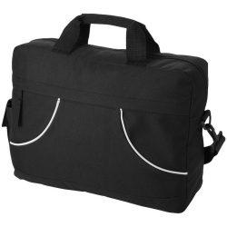 Geanta pentru conferinte cu buzunar lateral, Everestus, CO01, poliester 600D, negru, saculet si eticheta bagaj incluse