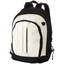 Arizona backpack, 600D Polyester, White, solid black
