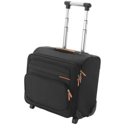 Orange-line business trip trolley, 1680D Polyester, solid black