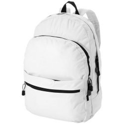 Rucsac confortabil, curele ajustabile, buzunar frontal, Everestus, TD, 600D poliester, alb, saculet si eticheta bagaj incluse