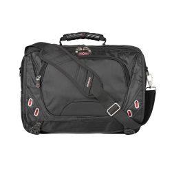 Servieta Laptop, Elleven by AleXer, PN, 17 inch, nylon si scuba, negru, breloc inclus din piele ecologica si metal
