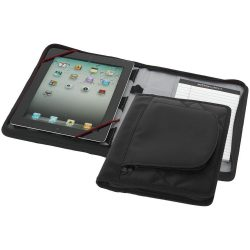 iPad case with A5 notebook, Dot dobby nylon with scuba, solid black