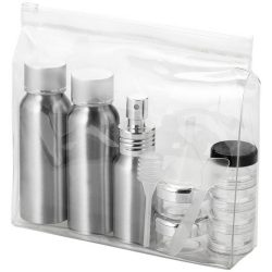 Geanta cu recipiente cosmetice din aluminiu pentru calatorii cu avionul, Everestus, FT01, pvc, argintiu, saculet inclus