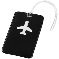 Voyage luggage tag, PVC, solid black