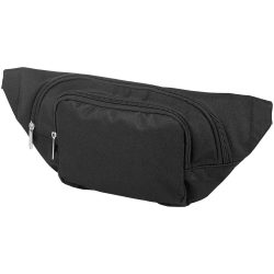 Santander fanny pack with two compartments, 600D polyester, solid black
