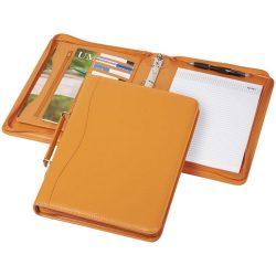 Mapa A4 cu 20 pagini incluse, buzunar cu fermoar, Everestus, BE, piele ecologica, portocaliu