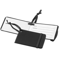 Viaggio luggage tag with elastic band, Leatherrete paper, solid black