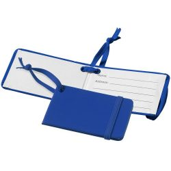Viaggio luggage tag with elastic band, Leatherrete paper, Royal blue