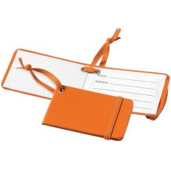Viaggio luggage tag with elastic band, Leatherrete paper, Orange