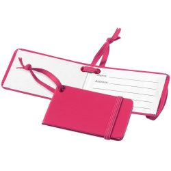 Viaggio luggage tag with elastic band, Leatherrete paper, Pink