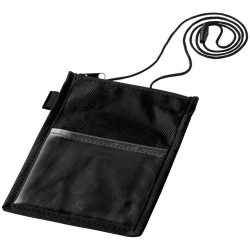 Identify badge holder pouch with pen loop, 80 GSM non woven polypropylene, solid black