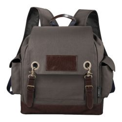Classic backpack, Canvas 610 g/m² Cotton and imitation leather, Grey