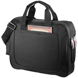 Servieta business cu buzunar frontal deschis, Everestus, DN, 600D poliester, negru, saculet si eticheta bagaj incluse