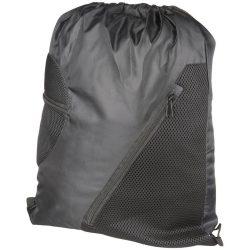 Saculet cu 2 buzunare frontale din plasa, poliester 210D, Everestus, 8IA19059, negru, eticheta de bagaj inclusa