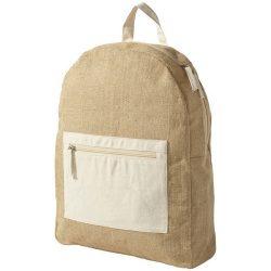 Rucsac realizat din iuta, buzunar frontal, Everestus, ON, iuta si bumbac, natur, saculet de calatorie si eticheta bagaj incluse