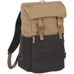 Rucsac Laptop, Field & Co by AleXer, VE, 15 inch, 16 oz bumbac panza, bej, antracit, breloc inclus din piele ecologica si metal