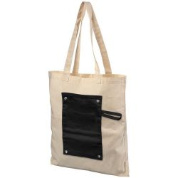 Snap 180 g/m² roll-up buttoned  cotton tote bag, Cotton, solid black