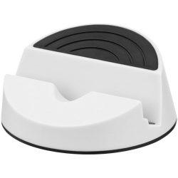 Suport telefon de birou cu design elegant, Everestus, STT087, plastic, alb, laveta inclusa