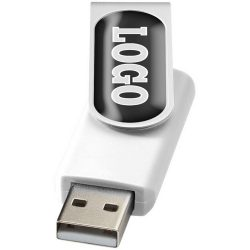 Rotate-doming 2GB USB flash drive, Plastic and Aluminum, White, Silver  , 2GB