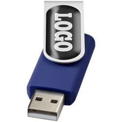 Rotate-doming 2GB USB flash drive, Plastic and Aluminum, Blue, Silver  , 2GB
