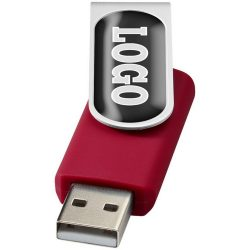 Rotate-doming 2GB USB flash drive, Plastic and Aluminum, Red, Silver  , 2GB