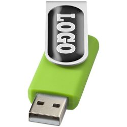Rotate Doming USB 2GB, Plastic and Aluminium, Lime, Silver  , 2GB