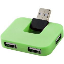 Gaia 4-port USB hub, HIPS plastic, Green