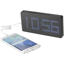 Clok 8000 mAh LED time display power bank, ABS Plastic, solid black,Grey