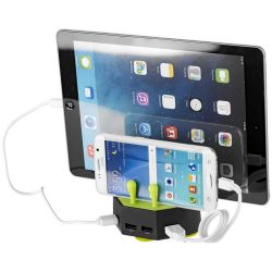 Turf charging station with 4 USB ports, ABS Plastic, solid black,Lime