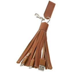 Tassel 3-in-1 Fabric Cable, PU leather, Brown