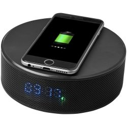 Circle wireless charging alarm clock speaker, ABS plastic, solid black