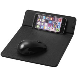 Rodent wireless charging mouse pad, PU leather, solid black