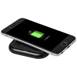 Radiant light-up logo wireless charging pad, ABS Plastic,  solid black