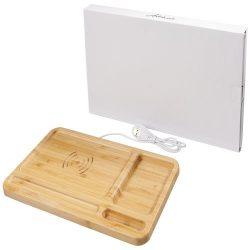 Frame wireless charging desk organizer, Bamboo, Wood