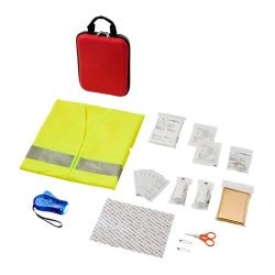 Handies 46-piece first aid kit and safety vest, EVA pouch, Red