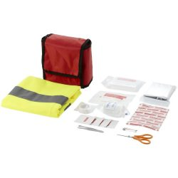 Atlas 18-piece first aid kit and safety vest, 70D nylon, Red