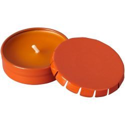 Lumanare cu parfum de vanilie in cutiuta metalica cu capac, Everestus, LPD27, portocaliu, laveta inclusa
