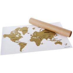 Harta lumii razuibila, Everestus, WT01, hartie si pudra de aluminiu, alb, bronz