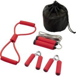 Set 4 accesorii fitness, Everestus, 9IA19038, Poliester, Rosu