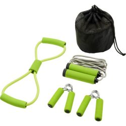 Set 4 accesorii fitness, Everestus, 9IA19036, Poliester, Verde