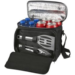 Mill 2-piece bbq set with cooler bag, 600D Polyester and stainless steel, solid black